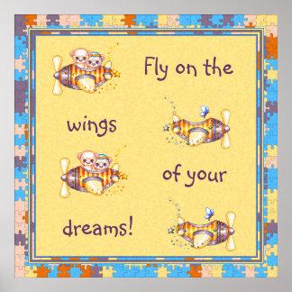 Bear Planes & Butterflies Pixel Art Poster