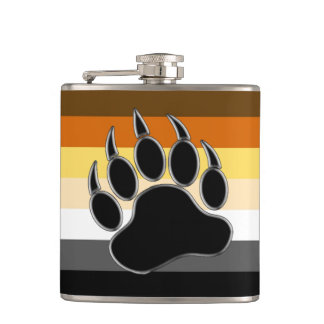 Bear Pride Colors Silver Black Paw Hip Flask