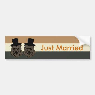 Bear Pride Just Married Bumper Sticker