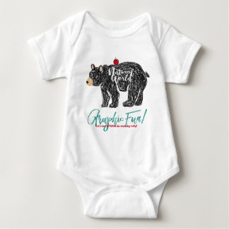 Bear print of the free kind of hand which is drawn baby bodysuit