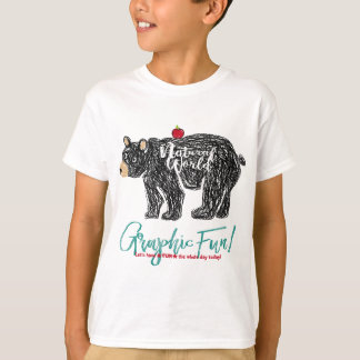 Bear print of the free kind of hand which is drawn T-Shirt