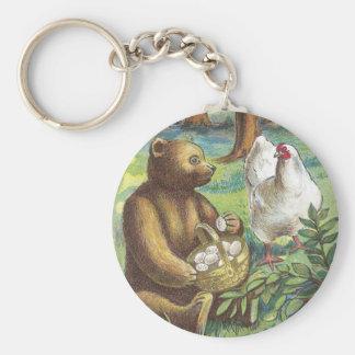 Bear Puts Hen's Eggs in Basket Vintage Easter Key Ring