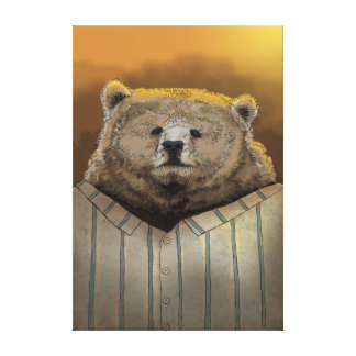 Bear ready for hibernation stretched canvas prints