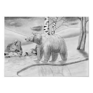 Bear Roaming Ink Drawing Poster