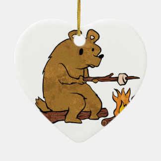 bear roasting marshmallows ceramic ornament