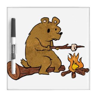 bear roasting marshmallows dry erase board