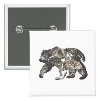 Bear Silhouette With Trees, Wild Nature 15 Cm Square Badge