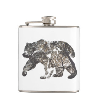 Bear Silhouette With Trees, Wild Nature Hip Flask