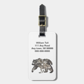 Bear Silhouette With Trees, Wild Nature Luggage Tag