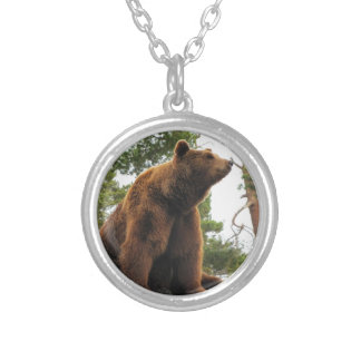 BEAR SITTING ON A ROCK SILVER PLATED NECKLACE