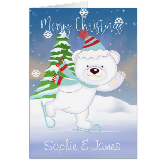 Bear Skating, Christmas Polar Bear Greetings Card