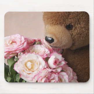 bear smelling roses mousepad