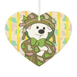 BEAR SOLDIER CARTOON Heart Air Freshener