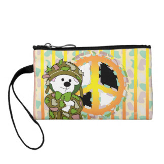BEAR SOLDIER CARTOON Key Coin Clutch Change Purse