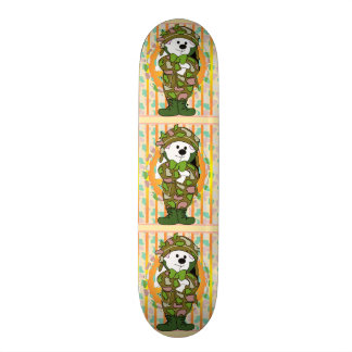 "BEAR SOLDIER CARTOON Skateboard 7¾"""
