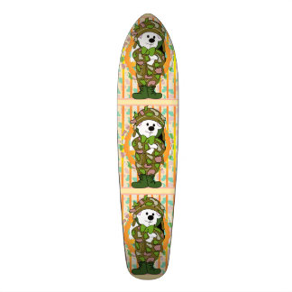 "BEAR SOLDIER CARTOON Skateboard 7 1/8"""