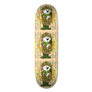 "BEAR SOLDIER CARTOON Skateboard 8½"""