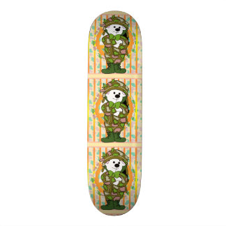 "BEAR SOLDIER CARTOON Skateboard 8 1/8"""