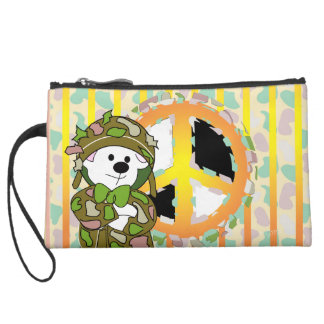 BEAR SOLDIER CARTOON Sueded Mini Clutch Wristlet Purses