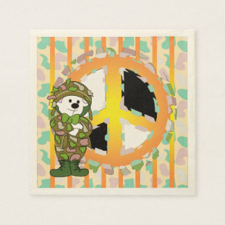 BEAR SOLDIER PEACE 3 CARTOON  Standard Cocktail Disposable Serviette