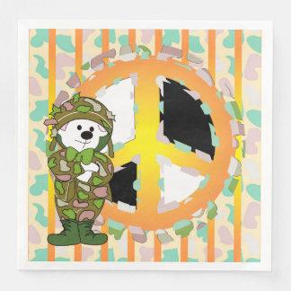 BEAR SOLDIER PEACE 3 CARTOON  Standard Dinner Disposable Napkins