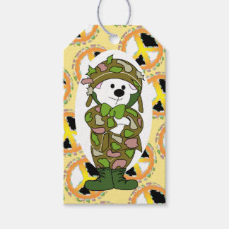 BEAR SOLDIER PEACE SIGN CARTOON GIFT TAG
