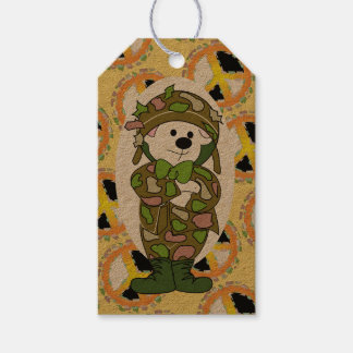 BEAR SOLDIER PEACE SIGN CARTOON GIFT TAG KRAFT