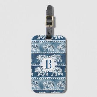 BEAR SPIRIT Navy Boho Tribal Pattern Bag Tag