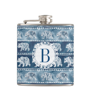 BEAR SPIRIT Navy Boho Tribal Pattern Hip Flask