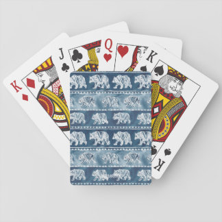 BEAR SPIRIT Navy Boho Tribal Pattern Poker Deck