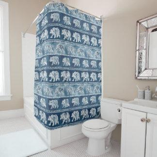 BEAR SPIRIT Navy Boho Tribal Pattern Shower Curtain