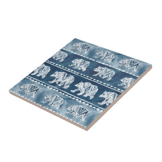 BEAR SPIRIT Navy Boho Tribal Pattern Small Square Tile