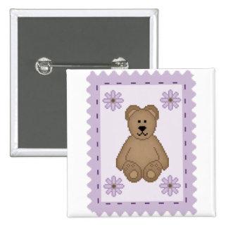 Bear Stamp Pinback Button