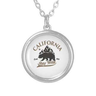 bear stay wild california silver plated necklace
