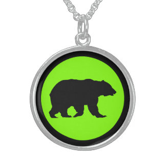 Bear Sterling Silver Round Chartreuse Necklace