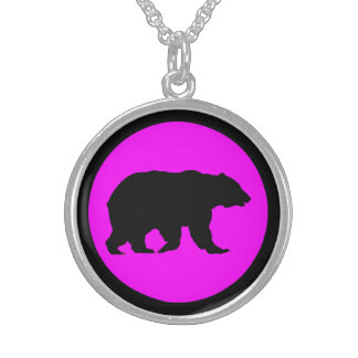 Bear Sterling Silver Round Magenta Necklace