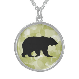 Bear Sterling Silver Round Necklace