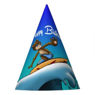 Bear Surfer Birthday Party Hat