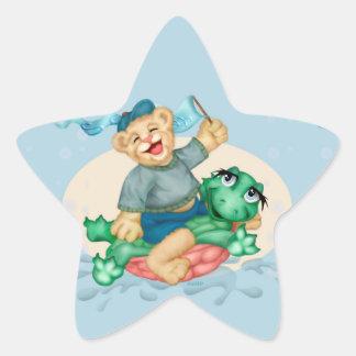 BEAR TURTLE AutoCollant ROUND Star Stickers