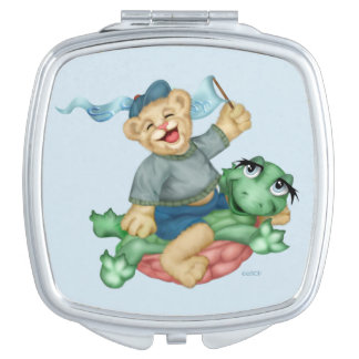 BEAR TURTLE CARTOON compact mirror SQUARE