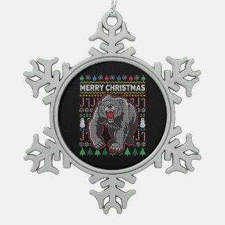 Bear Ugly Christmas Sweater Wildlife Series Snowflake Pewter Christmas Ornament