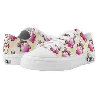 Bear With A Big Heart Design Printed Shoes