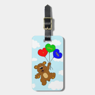 Bear with balloons in love cartoon kids bag tag