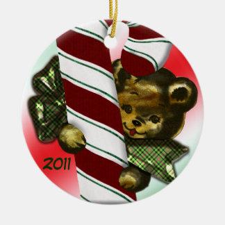 Bear with candycane 2011 round ceramic decoration