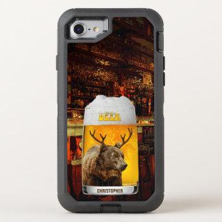 Bear With Deer Horns Beer Mug Pub Owner Cool Funny OtterBox Defender iPhone 8/7 Case
