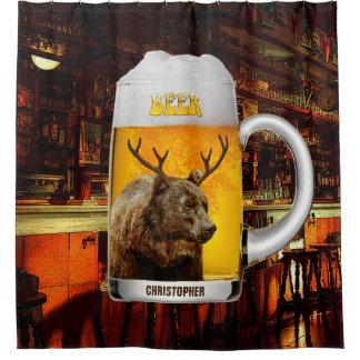 Bear With Deer Horns Beer Mug Pub Owner Cool Funny Shower Curtain