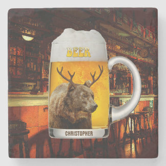 Bear With Deer Horns Beer Mug Pub Owner Cool Funny Stone Coaster
