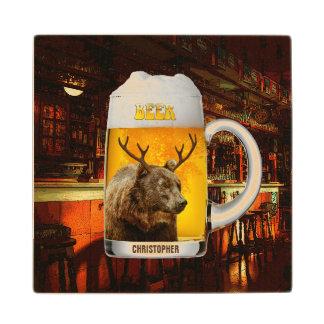 Bear With Deer Horns Beer Mug Pub Owner Cool Funny Wood Coaster