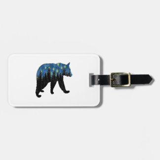 bear with fireflies luggage tag