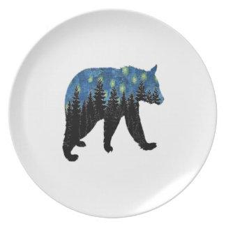 bear with fireflies plate